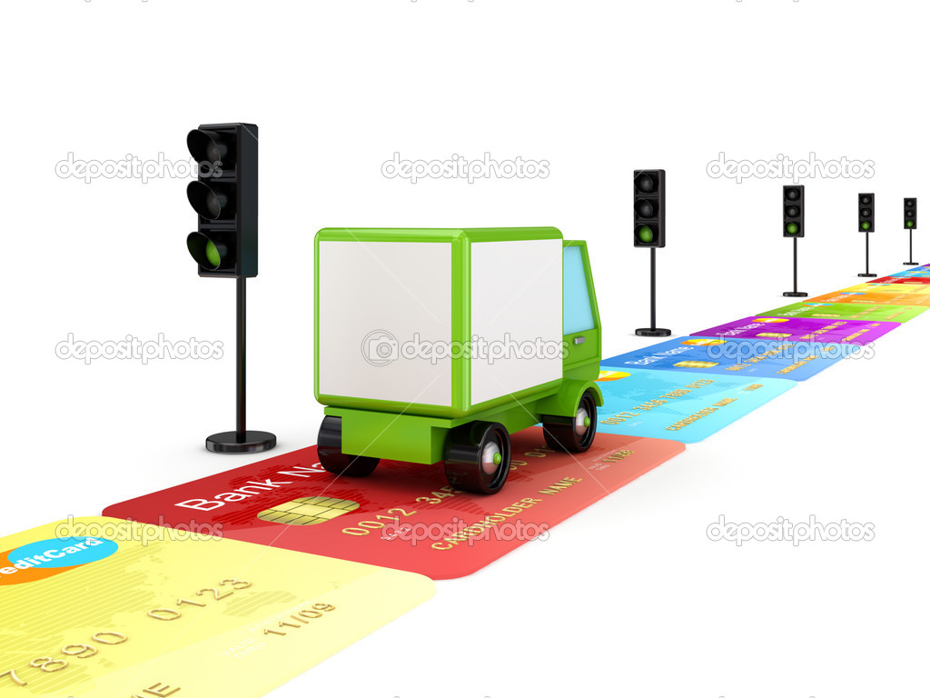 Green truck driving on a road made of colorful credit cards.Isolated on white.3d rendered. — Stock Photo #8436278