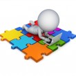 3d small person lying on a puzzles with a modern notebook. — Stock Photo