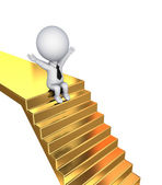 3d small person sitting on a golden stairs. — Stock Photo