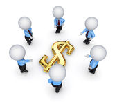 3d malé kolem znak dolaru. — Stock fotografie