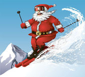 Skiing Santa — Stock Vector