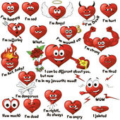 A set of cartoon hearts — Stock Vector