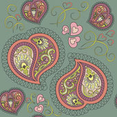 Heart paisley seamless pattern — Stock Vector