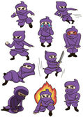 A set of ninja — Stock Vector