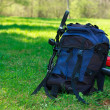 Backpack and Bike Lying on Green Grass — Stock Photo #10477879