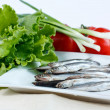 Anchovy fish on plate with lettuce, green onions and tomatoes — Stock Photo #10659743