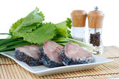Fillet of fresh raw fish carp on a plate with herbs and spices — Stock Photo