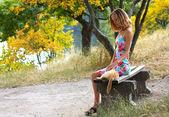 Jovem mulher bonita sentada no banco e acariciando um gato — Fotografia Stock