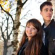 Стоковое фото: Young beautiful happy couple in love in outdoors