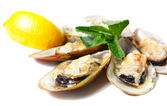 Mussels baked with parmesan cheese — Stock Photo