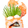 Sushi Roll with salmon, eel and cucumber. Red Dragon — Stock Photo