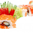 Sushi Roll with salmon, eel and tiger shrimp. Red Dragon — Stock Photo