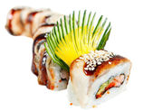 "Sushi Roll with eel, tiger shrimp and avocado. ""Golden Dragon"" — Stock Photo"