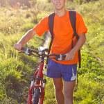 Happy Man Cyclist with Bike — Stock Photo #9538580