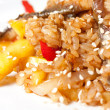Pilaf with Eel and Pineapple — Stock Photo