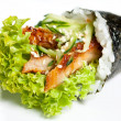 Hand Roll Sushi with eel, lettuce, avocado, cucumber and nori — Stock Photo #9704449