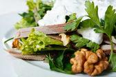 Salad with Tongue and Walnut Close-up — Stock Photo