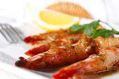 Baked Tiger Shrimps with Greens and Lemon — Stock Photo