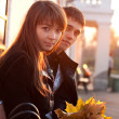 Stockfoto: Young Beautiful Couple in Love Outdoor Backlit