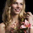 Lily fashion portarit, she looks at left, she laughs — Stock Photo #10443356