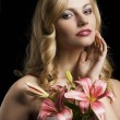 Lily fashion portarit with hand near the face — Stock Photo #10443363