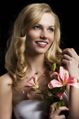 Lily fashion portarit, she looks at left, she laughs — Stock Photo