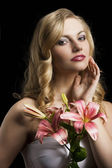 Lily fashion portarit with hand near the face — Stock Photo