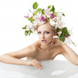 Pretty blond with flower crown on head, she looks in to the lens — Stock Photo