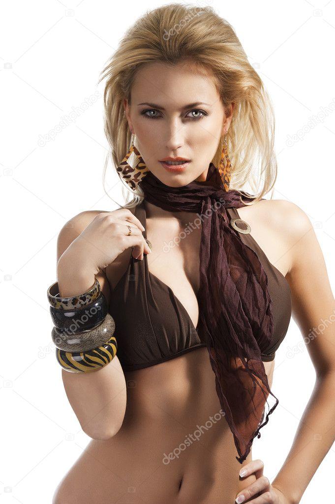 Bikini fashion summer girl, she has left hand on the left ...