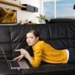 Stock Photo: Girl on sofa with laptop, she indicates the display with one fin
