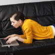 Stock Photo: Girl on sofa with laptop, she watches the display with expressio
