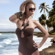 Summer picture of a blonde girl with sunglasses — Stock Photo #8625788