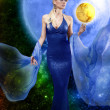 E.T. woman with golden planet — Stock Photo #8763305