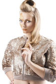 The sequin glittering creative make up girl, her face is turned — Stok fotoğraf