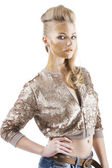 The sequin glittering creative make up girl, she has the hand on — Stock Photo