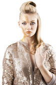 The sequin glittering creative make up girl, she is in front of — Stock Photo