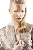 The sequin glittering creative make up girl, she looks in to the — Stock Photo