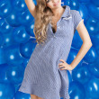 Fashion shot of summer girl in blue, she has a funny expression — Stock Photo #8841829