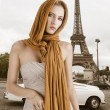 Blond girl in elegant dress, she has the scarf on the head — Stock Photo