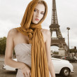 Blond girl in elegant dress, she has the scarf on the head - Stock Photo