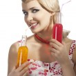Fashion summer girl drinking, she smiles and drinks by orange bo — Stock Photo #8901108