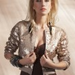 Stock Photo: Fashion girl with sequins top