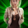 Fashion girl with shining sequins jacket - Stockfoto