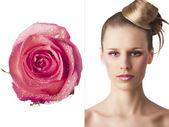 Цветочные макияж, она превращается в три четверти — Стоковое фото