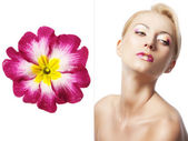 The floral makeup, she is turned of three quarters — Stock Photo