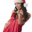 Red woman with christamas hat — Stock Photo #9570551