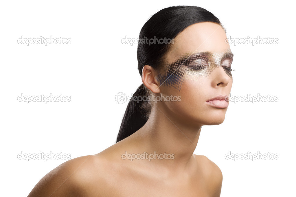 Close up beauty portrait of beautiful brunette girl with net faceart over white — Stock Photo #9570886