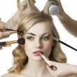 In beauty salon, the girl looks at right - Photo