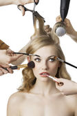 In beauty salon,the girl looks at left — Stock Photo