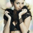 Royalty-Free Stock Photo: The sexy lady in black feather underwear
